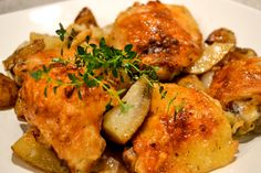 "Roasted Thyme Chicken and Potatoes. When I don't have a lot of ""thyme"" in the kitchen (no pun intended) this is a quick and easy recipe to whip up and let the oven do the rest of the cooking Thyme Recipes, Pork Recipes, Chicken Recipes, Cooking Puns, Cooking Ideas, Food Ideas, Roasted Chicken And Potatoes, Turkey Dishes, How To Cook Chicken"