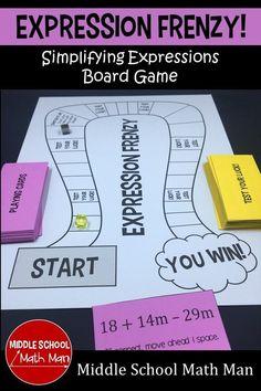 A Simplifying Expressions Math Game 8th Grade Math Games, Algebra Games, Teaching Math, Math Math, Math Fractions, Math Teacher, Kindergarten Math, Fun Math, Teacher Stuff