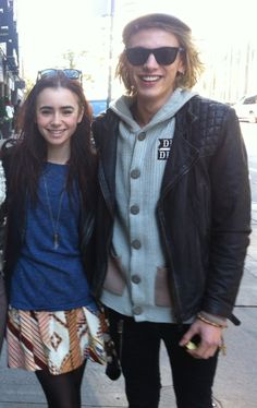 Adorable!!!  Lily Collins and Jamie Campbell Bower in Toronto today
