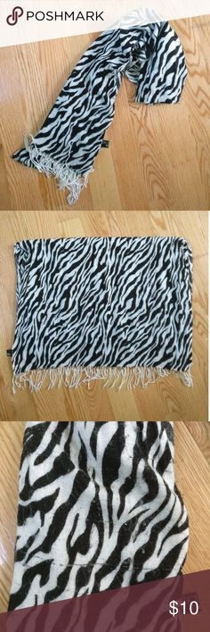J Fashion Large Zebra Print Scarf From Cecil McBee in Japan. Large scarf that will keep you warm and looking stylish! Some piling and flaws as shown. Cecil McBee Accessories Scarves & Wraps