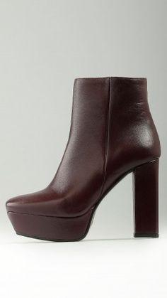 Burgundy platform ankle boots