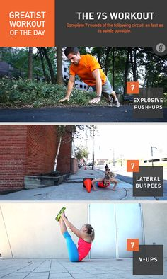 Greatist Workout of the Day, Thursday, May The Workout- 7 rounds of 7 explosive push-ups, 7 lateral burpees, 7 V-ups Bodyweight Routine, Plyo Workouts, Killer Workouts, Gym Routine, Easy Workouts, Hiit, Circuit Workouts, Exercise Routines, Fit Girl Motivation