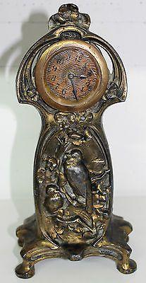 Superb antique alarm clock art nouveau metal birds jugendstil, réveil style Wmf