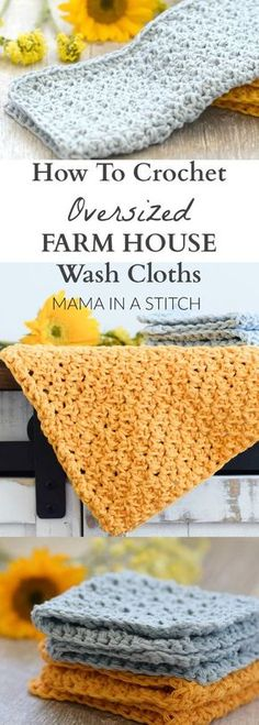 Crochet For Beginners Farm House Washcloth Crochet Pattern via This is a free pattern for an easy crocheted washcloth! Perfect dishcloths for the kitchen or home use! Crochet Kitchen, Crochet Home, Knit Or Crochet, Washcloth Crochet, Crotchet, Crochet Stitch, Knitted Dishcloths, Crochet Potholders, Knit Washcloth Patterns