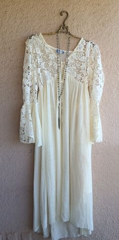Image of Nic & Zoe maxi and short boho gypsy bells sleeve lace dress