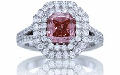 Fancy Pink Diamond Radiant Cut Engagement Ring Radiant Cut Engagement Rings, Engagement Ring Cuts, Colored Diamonds, Pink Diamonds, Pink Diamond Jewelry, Diamond Rings, I Love Jewelry, Jewelry Box, Fine Jewelry