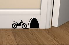 Mouse hole with motorbike skirting board vinyl decal sticker, wall art, mouse house stickers