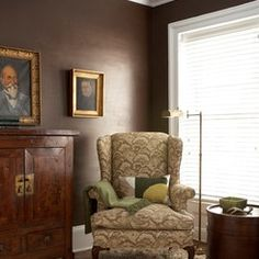 Dark Brown Walls with white trim