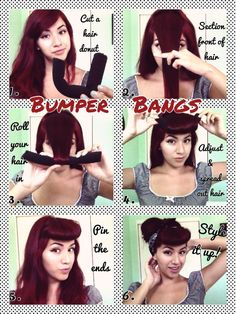 Classic Pin-up style bumper bangs tutorial ! Classic Pin-up style bumper bangs tutorial Maquillage Pin Up, Cabelo Pin Up, Pinup, Bumper Bangs, Bangs Tutorial, Diy Tutorial, Estilo Pin Up, Front Hair Styles, Rockabilly Fashion