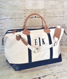 Monogrammed Canvas Leather Weekender - 6 Colors - Preppy Overnight bag - Personalized Luggage - Unique Bridesmaid Gift