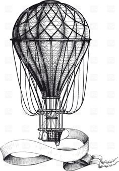 Vintage hot air balloon with waving banner hanging to the basket, 37906, download royalty-free vector clipart (EPS)
