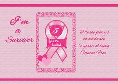 Five Year Breast Cancer Survivor Party Invitation