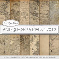 "Antique maps 12x12 digital papers ""ANTIQUE SEPIA MAPS 12x12"" backgroundssepia vintage map world map America Europe Asia Australia Artfanaticus 4.90 USD"