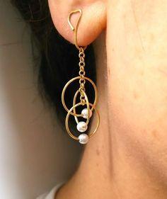 軌道 痛くないイヤリング(特許取得❗)挟むだけ❗の ストレスフリーイヤリング✨   ハンドメイドマーケット minne #wirejewelry