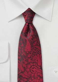 Auffallende Krawatte im Paisley-Look kirschrot
