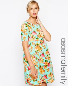 ASOS Maternity | ASOS Maternity Exclusive Textured Skater Dress in Spearmint Floral Print at ASOS