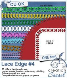 #Lace #Edge #4 - #Font - Create a variety of lace borders with this font. You get a total of 25 basic lace edge #patterns.