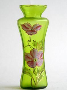 Bohemian Jugendstil Vase green satin glass pink by Quirkytiques, £24.00