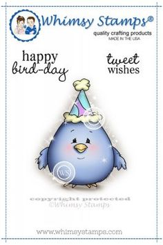 """Whimsy Stamps/C. Armstrong """"""""Happy Bird-Day"""""""" Rubber Stamp"""