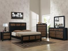 5 pc Chatham two tone finish wood with paneled look queen bedroom set
