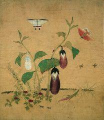 신사임당, Shin Saimdang 1504-1551, 가지와 방아깨비 (草蟲圖)