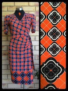 a28d5c0b2185 Leona by Leona Edmiston   Myer   orange faux wrap dress with tiled pattern  in black