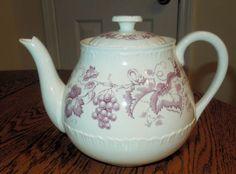 "Beautiful Wedgwood Old Vine Purple Teapot. 5¼"" h, 5-cup. $19.50 at dalefa on ebay, 11/11/15"