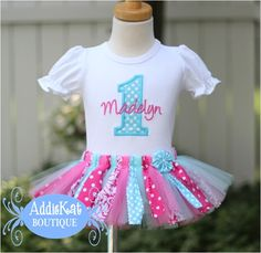 Personalized Cotton Candy Pink and Aqua Fabric Tutu Birthday Outfit