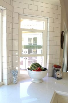 White Kitchen Renovation and Design: subway tile backsplash grey grout