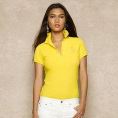 Polo Ralph Lauren Beaded Big Pony Polo Trainer Yellow #Ralph Lauren#Polo