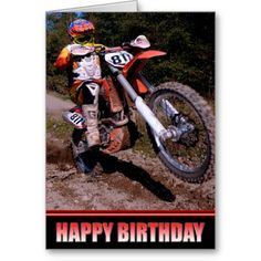 You Rock! Happy Birthday motocross personalized birthday card sold to a customer in Australia. #motorcycle #speed #race #dirt bike #moto x