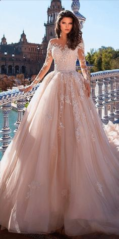 top wedding dresses ball gown with long illusion sleeves lace .- top brautkleider ballkleid mit langen illusion ärmeln spitze giovanna alessandr … top wedding dresses ball gown with long illusion sleeves lace giovanna alessandr … - Western Wedding Dresses, Modest Wedding Dresses, Lace Dresses, Pretty Dresses, Bridal Dresses, Awesome Dresses, Colorful Wedding Dresses, Formal Dresses, Beautiful Dresses For Wedding