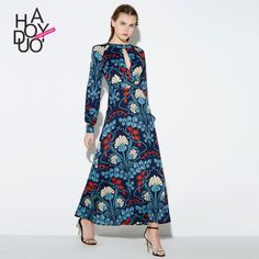 2017 Europe Spring Retro Fashion Women Long Section Floral Hollow Sim Dress | eBay