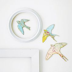 Vintage map flying swallows - I just bought London, Paris, and Rome Wall Decals and I think this would look great next to them!
