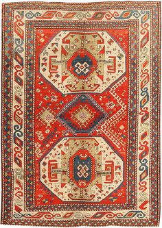 Antique Kazak Caucasian Rug (1870 - 1900)