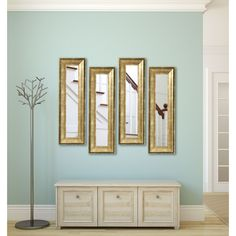 American Made Rayne Lustrous Champagne (Beige) Panel Mirrors (Set of 3: 12.5 x 33.5)