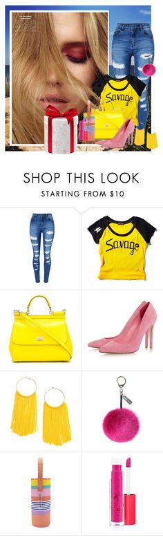 """""""sweety vibrant"""" by betsabe13 ❤ liked on Polyvore featuring WithChic, Current Mood, Dolce&Gabbana, Helen Moore, Sunnylife and MAC Cosmetics"""