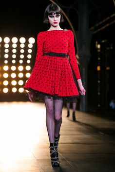 A mini-crini polka dot prom dress | Saint Laurent Fall 2015 (Photo: Nowfashion)