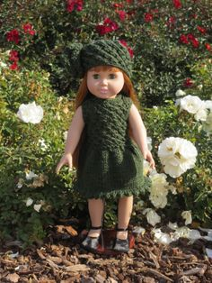 Green knitted dress and matching hat for 18 inch doll