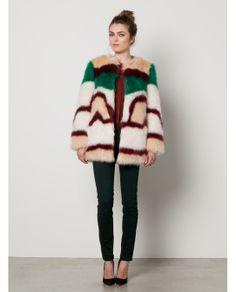 Fake Fur Coat > Womens Clothing > Jackets at Maison Scotch #coat #abrigo #faux #fur #moda #fashion #multicolor