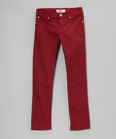 Take a look at this Wine Red Twill Pants by Lavo Collections on #zulily today!