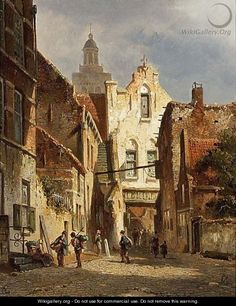 Villagers In The Streets Of A Sunlit Dutch Town - Adrianus Eversen