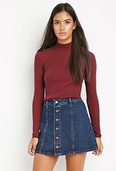 Life in Progress Buttoned A-Line Denim Skirt | Forever 21 - 2000162409