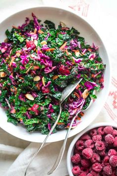 Make a splash on the holiday table this year with this festive Kale Slaw with Raspberries and almonds. It is vegan-friendly, naturally gluten-free and bursting with plant-based nutrients. It's made with kale, cabbage and carrots with a sweet tart dressing made with frozen red raspberries.