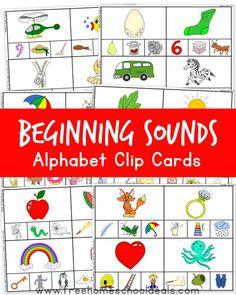 FREE BEGINNING SOUNDS ALPHABET CLIP CARDS (instant download!)