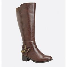 Avenue Tamara Strappy Chain Riding Boot ($36) ❤ liked on Polyvore featuring shoes, boots, brown, plus size, zipper boots, wide width boots, brown buckle boots, knee high buckle boots and buckle riding boots