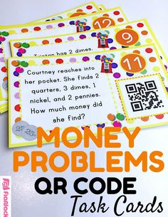Money QR Code Fun Task Cards - QR codes are all the rage, and they will have your students excited about counting coins and solving money word problems! Based on the 2nd grade CCSS 2.MD.8, this title contains 12 self-checking center/task QR code cards, one recording sheet, and one 10-problem worksheet.