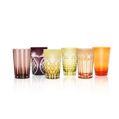 Hand-Carved Glass Tumblers - Set of 6 - Yellow/Orange/Purple Assorted Orange And Purple, Yellow, Resort Style, Tumblers, Hand Carved, Artisan, Carving, Glass, Drinkware