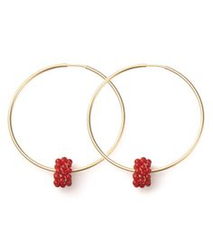Viv & Ingrid Beaded Solitaire Hoop  Gold/Red Coral