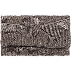 From St Xavier Alexia Clutch (230 QAR) ❤ liked on Polyvore featuring bags, handbags, clutches, gunmetal, envelope clutch bag, beaded purse, chain strap handbag, brown envelope clutch and chain strap purse